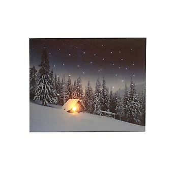 Jandei Led Landscape Picture Box Met Switch (Berg, 50 * 40 * 1.8) Huis in sneeuw met sterrenhemel met verlichting 1 LED EN 53 optische fribra punten, 2 AA batterijen