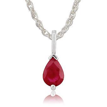 Collar colgante clásico de pera rubí en oro blanco de 9 qt 123P0256129
