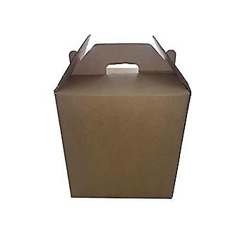 "Brown 10"" Cubed Cardboard Gable Style Carry Storage Gift Box 50 Pack 254mm x 254mm x 254mm"