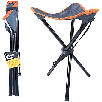Milestone Foldable Outdoor Tripod Leisure Steel Camping Stool Grey
