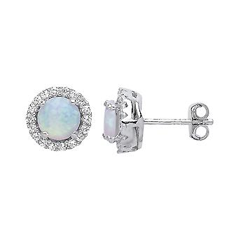 Jewelco London Ladies Rhodium Plated Sterling Silver opal Halo Cluster Stud Earrings
