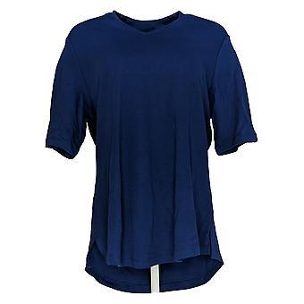 Isaac Mizrahi Live! Kvinner's topp V-hals albue ermet tunika blå A289635