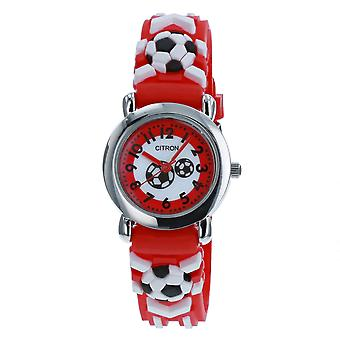 Citron Analogue Kids-Boys Football Motif 3D Red Silicone Strap Watch KID151