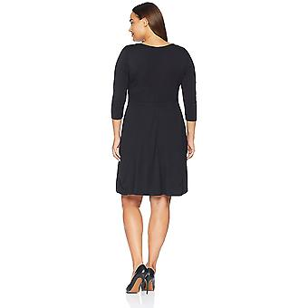 Lark & Ro Women's Plus Size Three Quarter Sleeve Knit Fit and Flare Dress, Bl...