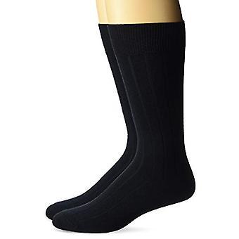 BUTTONED DOWN Men's 2-Pack Merino Wool Dress Socks, Navy, Shoe Size: 12-16