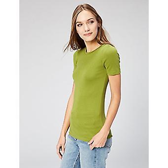 Marca - Daily Ritual Women's Peso Médio 100% Supima Cotton Rib Malha T-Shirt de Pescoço da Tripulação de Manga Curta, 2-Pack, Branco/Woodbine Verde, Médio