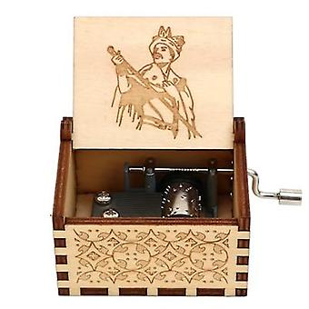 Wooden Engraved, Hand Crank Music Box For Queen Fan