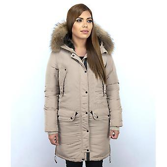 Long Parka Coat - With Fur Collar - Beige