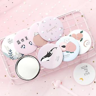 Cartoon Anti-fall Portable Small Makeup Pocket Mirror For Beauty Tools
