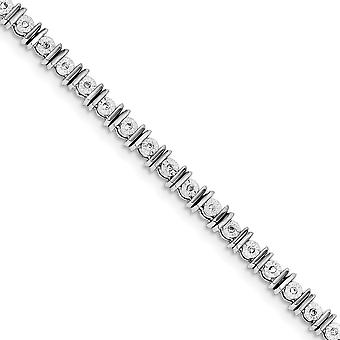 925 Sterling Silver Polished Lobster Claw Closure Diamond Tennis Bracelet Jewelry Gifts for Women