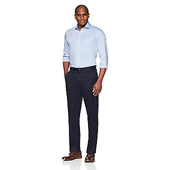 Merk - Buttoned Down Men's Relaxed Fit Flat Front Non-Iron Dress Chino Pant, Navy, 32W x 30L