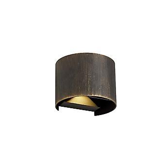 Iluminación luminosa - Lámpara de pared de iluminación hacia arriba y hacia abajo, 2 x 3W LED, 3000K, 410lm, IP54, negro, oro