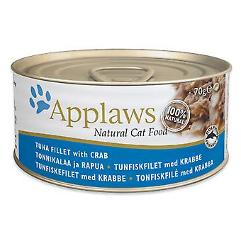 24 x 70g Applaws Natural Cat Wet Food Tonijn Vis Krab Vlees Natuurlijke Pet Snack