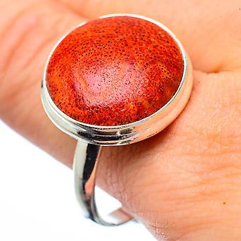 Grote Sponge Coral Ring Maat 12.75 (925 Sterling Silver) - Handgemaakte Boho Vintage Sieraden RING28836