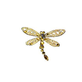 Gisela Graham Gold Glitter Clip Op kerstversiering - Libelle