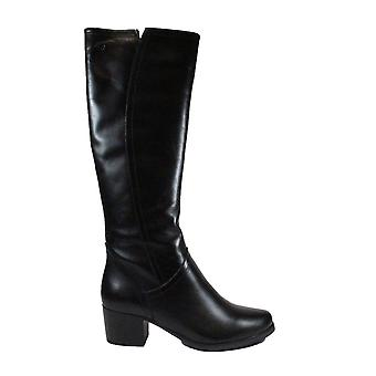Caprice 25514 Black Leather Womens Long Leg Boots