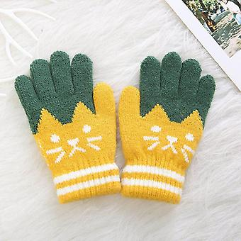 Winter Warm Knitting Soft  Patchwork Full Finger Mittens Gloves For Children