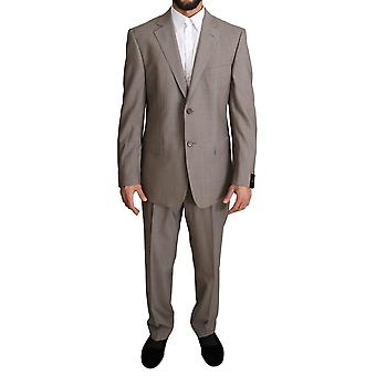Z ZEGNA Beige Solid Two Piece 2 Button Wool Suit
