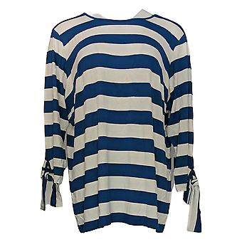 Joan Rivers Classics Collection Women's Top Tie Sleeve Detail Blue A304463