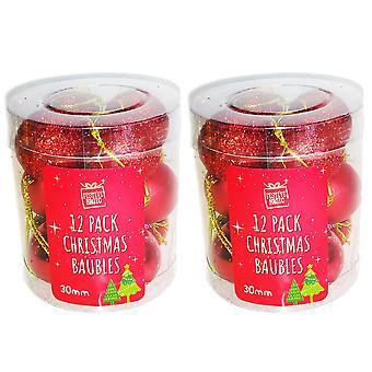 2 x 12 Red Christmas Tree Baubles Decoration Small Glitter Metallic 30mm