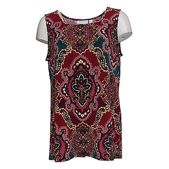 Susan Graver Women's Top Liquid Knit Printed Tank Red A380019