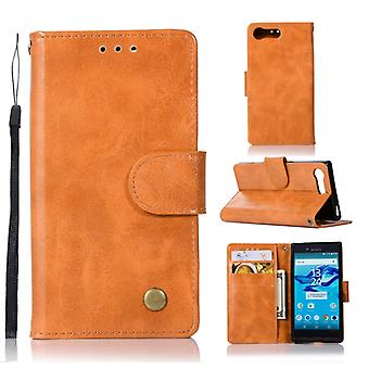 For Sony Xperia X Compact Retro Copper Button Crazy Horse Horizontal Flip PU Leather Case with Holder & Card Slots & Wallet & Lanyard(Gold Yellow)