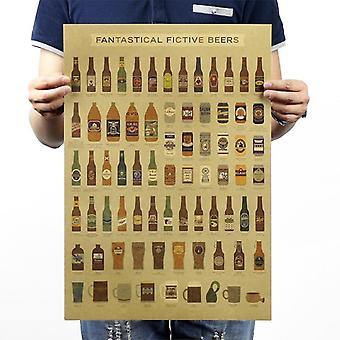 Beer Encyclopedia History Vintage Kraft Paper Poster