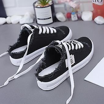 אביב קיץ נשים נעלי קנבס, שטוחות, שרוכים העליון נמוך לבן