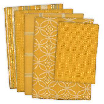 Dii Assorted Senape Dishtowel & Dishcloth (Set di 5)