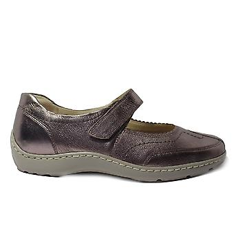 Waldläufer Henni 496302 125 090 Metallic Gold LLeather Womens Mary Jane Shoes