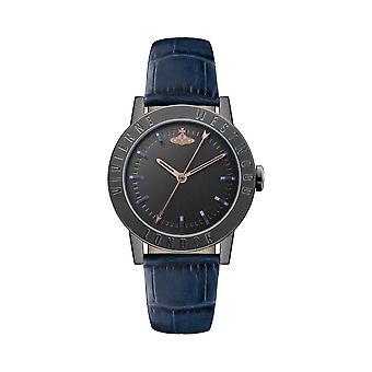 Vivienne Westwood Vv213bkbl Warwick Zwart & Blauw Lederen Dames Horloge