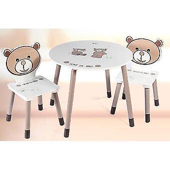 Dětská pohovka. Kombinace stolů a židlí z masivního dřeva. Kožená kůže