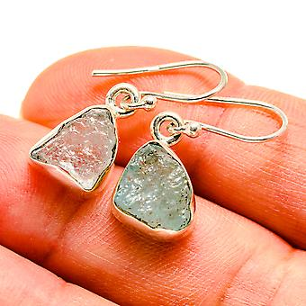"Rough Aquamarine Earrings 1"" (925 Sterling Silver)  - Handmade Boho Vintage Jewelry EARR409259"