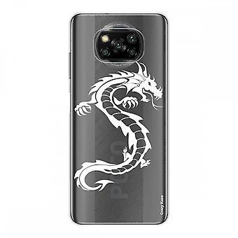 Kadłub dla Xiaomi Poco X3 NFC w silikonowym miękkim 1 mm, biały smok