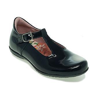 PETASIL Tbar Shoe With Buckle Black Patent