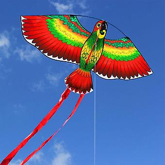 Red, Blue, Green Parrots Kite With Single Line Breeze Kite Flying Fun Sports