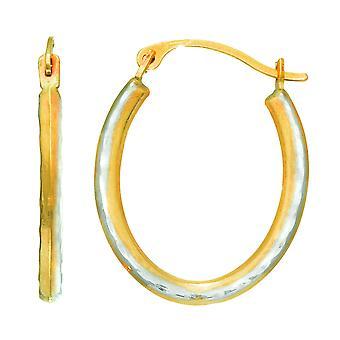 14K желтое золото альтернативные матовое три двусторонние овальный Хооп Серьги