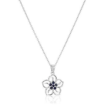 Sterling Silver Created Blue Sapphire Flower Pendant, White, Size No Size