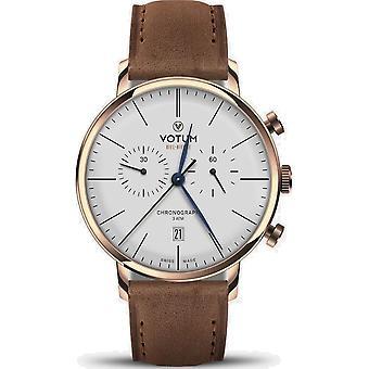 VOTUM - Reloj Unisex - VINTAGE CHRONOGRAPH - VINTAGE - V10.20.11.04 - correa de cuero - marrón claro