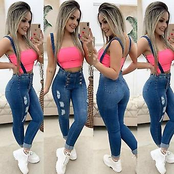 Ladies Button Mid Skinny Overalls Casual Slim Jeans