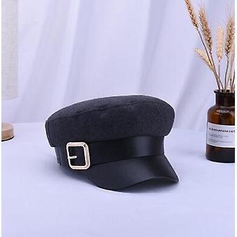 Fekete katonai kalapok, őszi / téli gyapjú pu bőr patchwork newsboy sapkák
