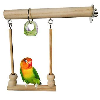 Bird Swing Toy Wooden Playstand With Chewing Beads Cage