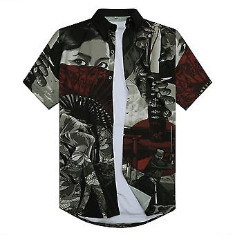 Allthemen Men's 3D Printed Shirt Japanese Warrior Samurai Short-sleeved Lapel Top