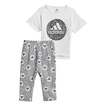 adidas Infant Kids Girls T-Shirt & Legging Tight Set White/Black