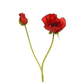 Artificial Silky Poppy stem flower 70 cm red