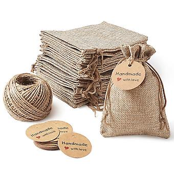 30pcs Burlap Bags Drawstring Packing Pouches Kraft Paper Price Tags Hemp Cord