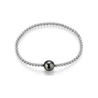 Adriana Bracciale perline Tahiti nero 9-11 mm catena a sfera flessibile argento rodiato placcato P4-S-94