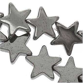 Koraliki z kamienia szlachetnego, hematyt, płaska gwiazda 6mm, 15,5-calowa nić, metaliczny szary
