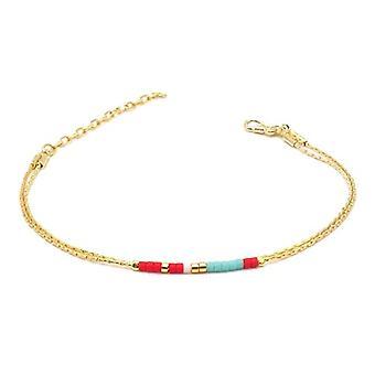 Benava, women's friendship bracelet, minimalist, multiwire with Seed Bead Gold glass beads 15-19 cm, adjustable Ref. 4744999040420