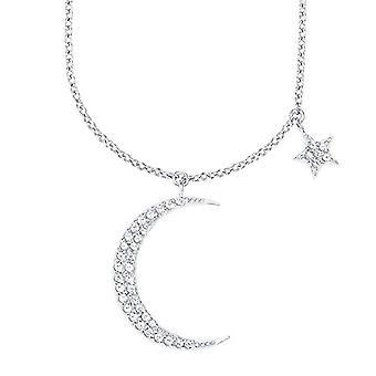 Amor - Kvinnors halsband 45 + 5 cm med hänge i form av en måne och stjärna, i silver 925 rodium, med vita zirkoner